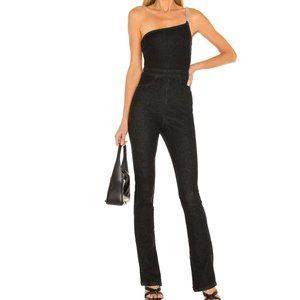 NWT WeWoreWhat Asymmetrical Chain Strap Jumpsuit Washed Black